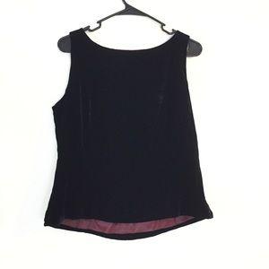 Ann Taylor Top Black Velvet Shell Dressy Sz 14